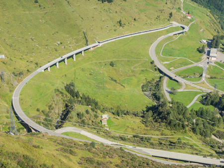 Mountain bends and intersections that create beautiful shapes. Road to Gotthard pass, Switzerland