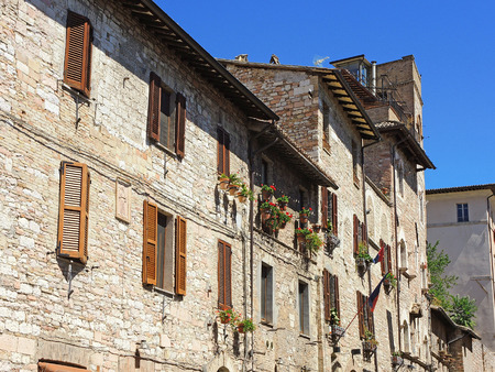 Assisi, Italy, to UNESCO world heritage. Historical buildings in the old city center Stock Photo