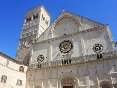 of assisi: Assisi, Italy, one of the most beautiful small town in Italy. The facade of the Cathedral of San Rufino Stock Photo