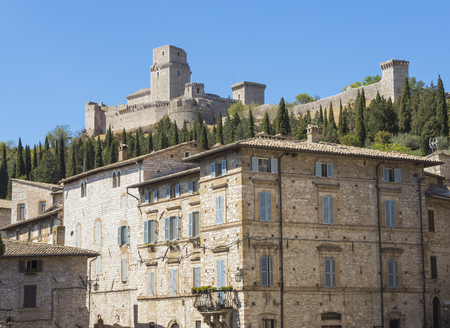 Assisi, Italy, to UNESCO world heritage. Historical buildings and houses in the old city center