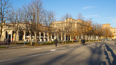 Bergamo, Italy. One of the beautiful city in Italy. The Sentierone. View of the city center along the most famous pedestrian way Editorial