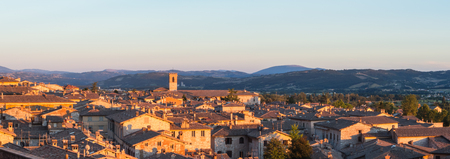 Gubbio, one of the most beautiful small town in Italy. Drone aerial view of the village