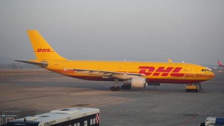 DHL Boeing 767 at Milan Bergamo International airport