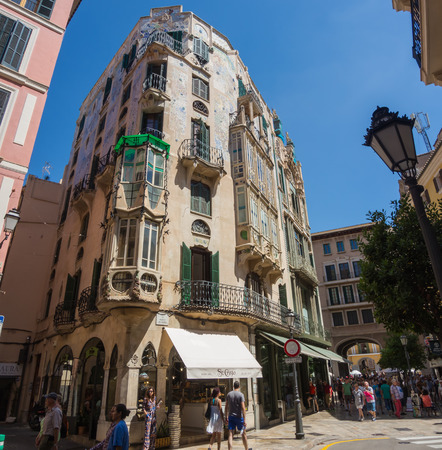Palma de Mallorca, Spain. The typical balconies on the facades of the buildings and houses in the old city center Editorial