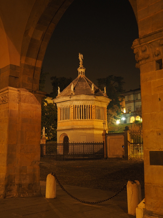 Bergamo, old town, the baptistery near the Cathedral and the Colleoni Chapel Stock Photo