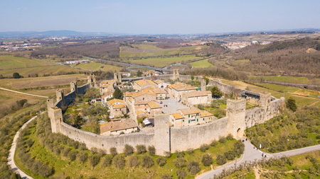 Monteriggioni, Siena, Italy. Aerial view of the wonderful medieval village. Tuscany, Italy
