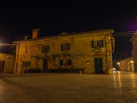 Monteriggioni, Siena, Italy. Night landscape of the wonderful medieval village. Tuscany, Italy