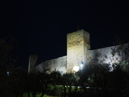 Monteriggioni, Siena, Italy. Night landscape of the outer walls of the village. Tuscany, Italy Stock Photo