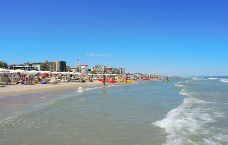 Riccione, Italy. The shore of the beach during summer time. Emilia Romagna region