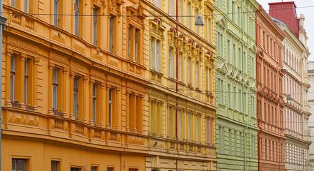 Prague, Czech Republic. Facades of the city center with different colors