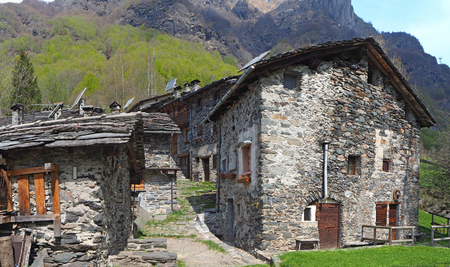 Maslana is an ancient rural village only accessible on foot. Valbondione, Bergamo, Orobie Alps, Italy
