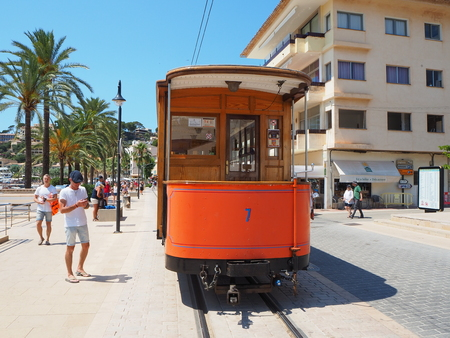 Port de Soller, Mallorca, Spain. The old electric tram running between Soller and the downtown of Port de Soller
