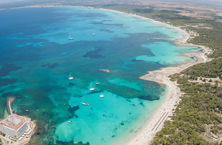 Colonia Sant Jordi, spain. Amazing drone aerial landscape of the charming beaches of Estanys and Es Trencs Imagens - 104592746