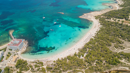 Colonia Sant Jordi, Mallorca Spain. Amazing drone aerial landscape of the charming Estanys beach