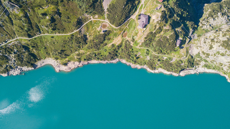 Aerial view of Lake Barbellino and the shore. An Alpine artificial lake. Italian Alps. italy 版權商用圖片