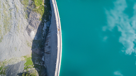 Up and down drone aerial view of the Lake Barbellino in an alpine artificial lake. Italian Alps. italy 版權商用圖片