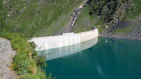 Barbellino, an alpine artificial lake. Italian Alps. italy Stok Fotoğraf