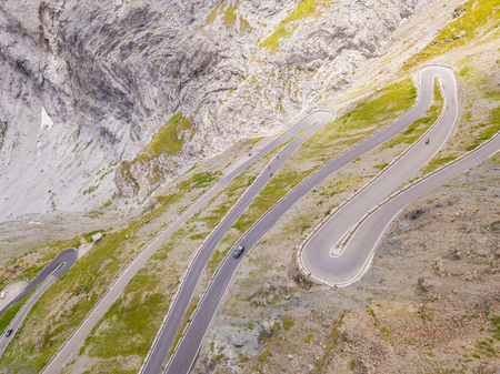 Road to the Stelvio mountain pass in Italy. Amazing aerial view of the mountain Stock Photo