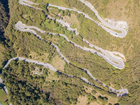 Done aerial view of the road in Italy from the village of Nembro to Selvino. 写真素材