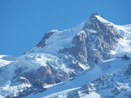 Amazing close up to the perennial glaciers of the Mont Blanc range on the French side Stock Photo