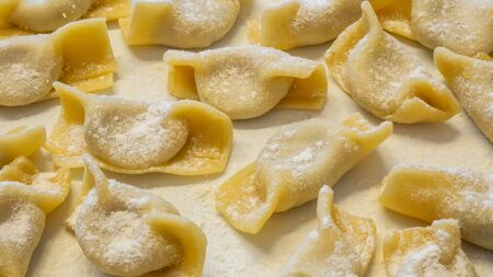 A kind of ravioli, casoncelli, home made traditional food of the Bergamo area, Italy. Delicious Italian food