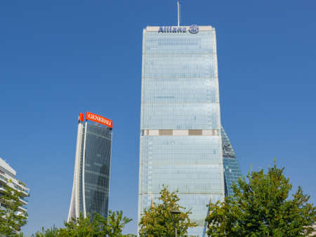 Milan, Italy. The iconic Generali and Allianz towers at CityLife district. Skyscraper which is part of a group of residential and business buildings. Modern buildings