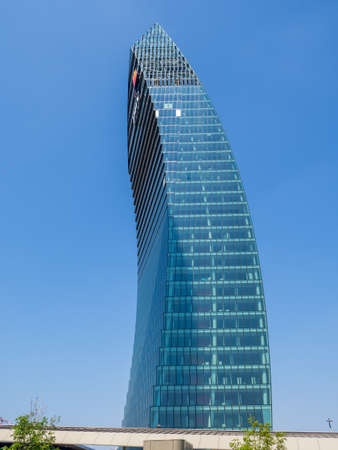 Milan, Italy. The iconic PWC towers at CityLife district. Skyscraper which is part of a group of residential and business buildings. Modern buildings