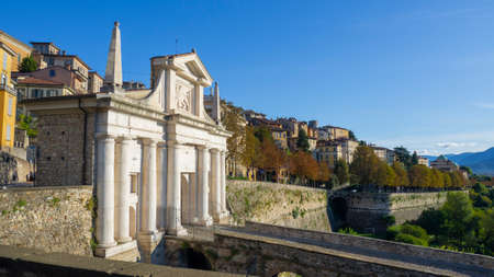 Bergamo, Italy. The old town. Amazing landscape at the ancient gate Porta San Giacomo. Bergamo one of the most beautiful cities in Italy