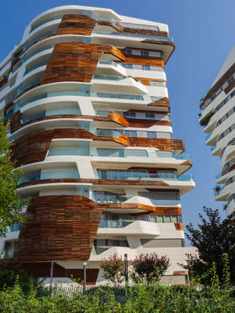 Milan, Italy. City life. Hadid Residences. Luxurious apartments. Modern architecture. The residences have rounded, light and extremely beautiful shapes. Eco friendly flats