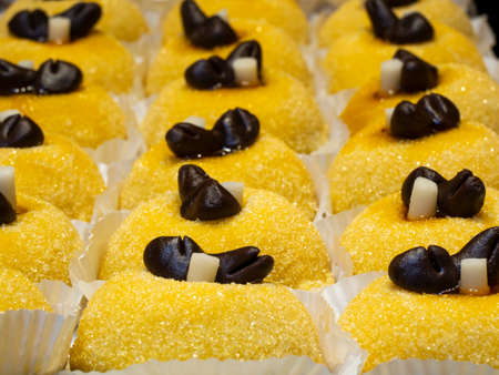 Traditional dessert of the town of Bergamo, Italy. Sweetened polenta and chocolate birds. Delicious cake. It's the most renowned sweet specialty of the cuisine of Bergamo