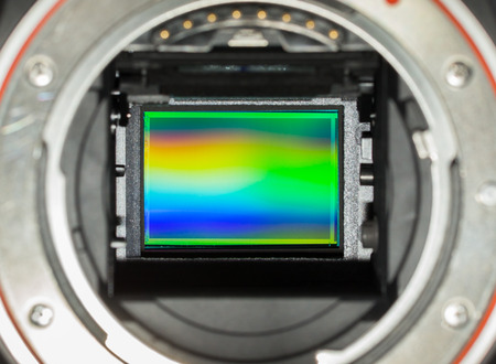 ccd: closeup of APS-C image sensor in dslr camera