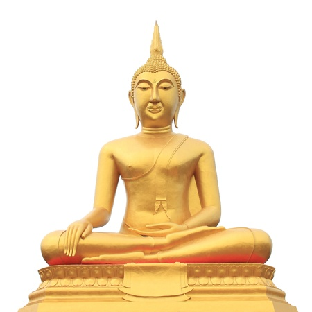 Golden Buddha, isolated against white background, Thailand Stock Photo