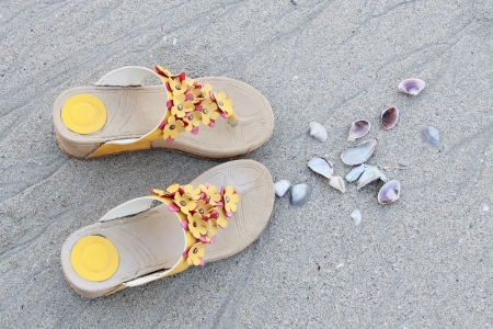 Shoes, Sand and Seashell photo