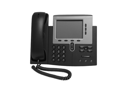 Black IP telephone with monitor replesentative of IP phone technology