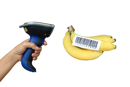 Scanning banana with buletooth barcode scanner photo