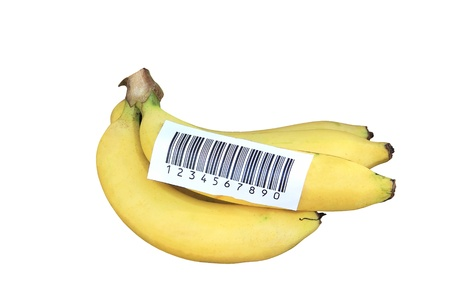 Banana stick with bacode label isolated photo