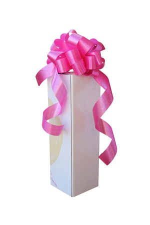 White gift box with pink ribbon bow