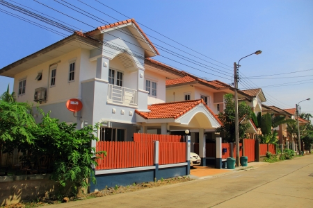townhome: A row of new modern townhouses in city of Thailand