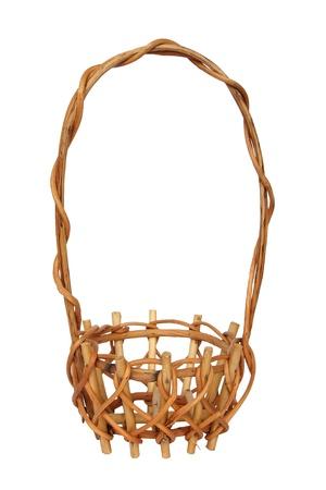 illustration of wicker basket over white background