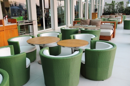 Decorative of chairs outside the building