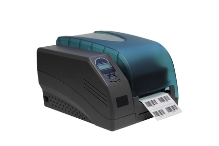 Barcode label printer isolated over white background