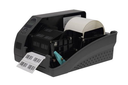 Barcode label printer isolated over white background Standard-Bild