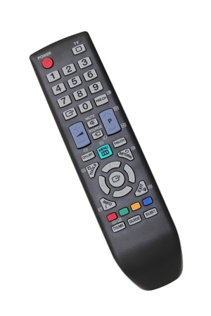 Black TV remote control isolated over white