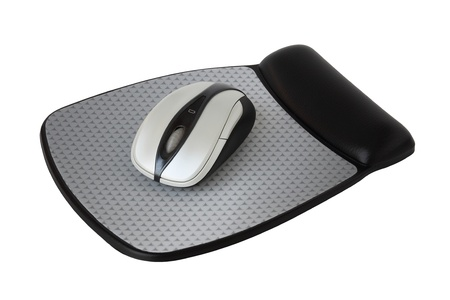 Bluetooth or wireless mouse with mouse pad on a white background