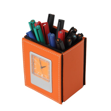 pencil holder: Yellow leather pen box with clock isolated over white background
