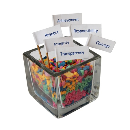 corporate responsibility: Message label stick in the glass box of color stone