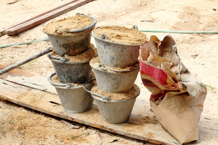 Sand in bucket for cement mixing Stock Photo - 18549154