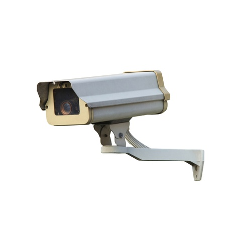 ccd camera: CCTV or security camera isolated over white background