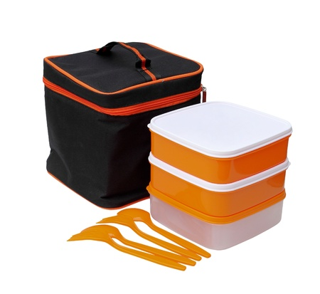 Orange boxes, black zipper bag, fork and spoon of the picnic set isolated over white background
