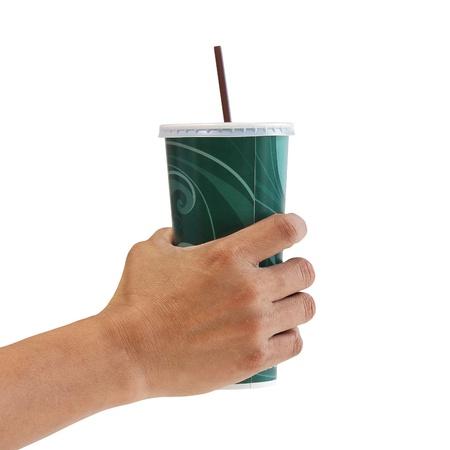 Man holding a paper cup. Фото со стока